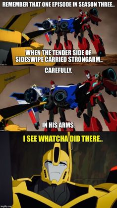 The tender side of Sideswipe has been revealed!!