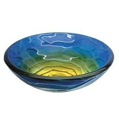 Yosemite Home Decor Blue-Green Polished Glass Vessel Round Bathroom Si