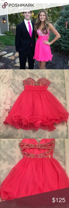 HOT PINK beaded dress This beautiful beaded Hot Pink dress will be beautiful on any girl!👗❤️ only worn once and is in perfect condition no missing beads or stains . Hannah Dresses Prom