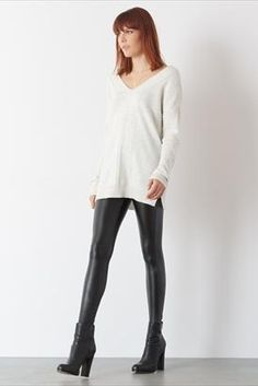A coated legging adds some shine to you sweater