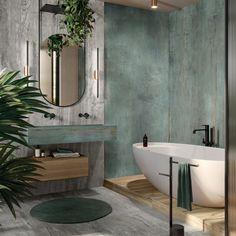 FLAVIKER Navona Bad Inspiration, Bathroom Inspiration, Bathroom Renos, Small Bathroom, Green Marble Bathroom, Green Bathroom Interior, Stone Bathroom, Bathroom Modern, Dream Bathrooms