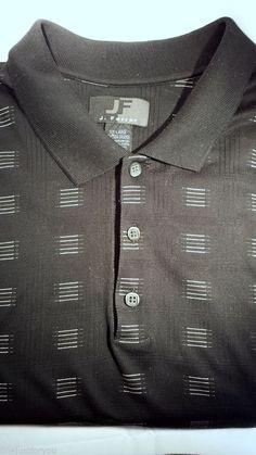 J Ferrar 2XL Black Beige Collared 100% Cotton Polo Short Sleeve Mens Shirt