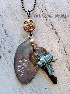 Best and cheap web host Cute Bee Happy stamped spoon necklace. By Fat Cow Studio