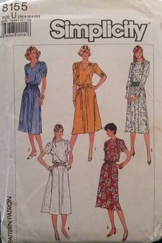 bcdcd004234f0 Simplicity 8155 Woman s Dress Pattern Size U 16+18+20 Uncut 1987