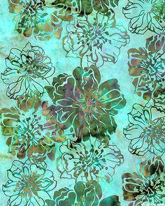 Ruffled Petals Batik - Aqua