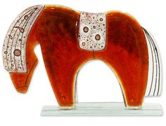 Fused Glass - Horse Small Red by Nobile Glassware. Available from Artworx Gallery, Shropshire, UK. www.artworx.co.uk