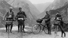 I love how everything used to be so formal. Suits for biking!!!! Crazy but what an era!!!!  circa 1898 - Four gentlemen set out on a bicycle ride through the mountains in Norway