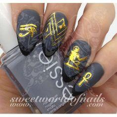 Egyptian Nail Art Gold Eye of Ra Egypt Key Nail Stickers