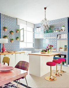 111 Eclectic Kitchen Design, Ideas, Remodel, and Decor For Your Home Eclectic Kitchen, Kitchen Interior, Kitchen Decor, Funky Kitchen, Open Kitchen, Whimsical Kitchen, Crazy Kitchen, Happy Kitchen, Eclectic Style