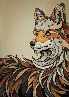 30 graphic illustrations around animals - Graphical Inspiration # 9 Geometric Fox, Doodles Zentangles, Fox Art, Grafik Design, Painting & Drawing, Amazing Art, Art Projects, Art Drawings, Street Art