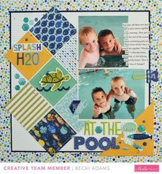 Becki Adams-Bella Blvd At The Pool Scrapbook Layout #scrapbooking101