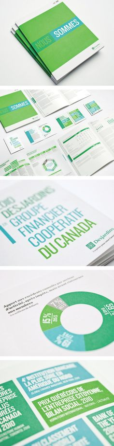 Clean graphics and text, minimal color. DESJARDINS / Annual Report by Pierre-Olivier Séguin Design Brochure, Graphic Design Layouts, Graphic Design Inspiration, Branding Design, Layout Inspiration, Design Poster, Book Design, Print Design, Annual Report Layout