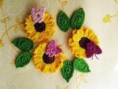 Set of 3 sunflower, 6 leaves, 3 butterflies Appliques handmade Crocheted sunflower Flower Applique - Embellishment