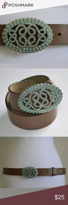 Juicy Couture Turquoise Brown Leather Belt Size L Women's brown leather belt with an oval turquoise buckle.  Size Large. Juicy Couture Accessories Belts