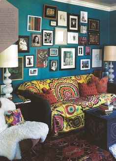 peacock blue living room.  Suzani