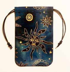 "Celestial Brilliant Moon Tarot Bag 5""x7"" Drawstring Pouch Runes Crystals Dice"