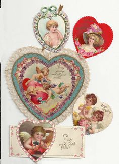 Collection of heart-shaped love tokens: a three-part charm string with original ribbon and envelope, postmarked Feb. Old Postcards, Vintage Cards, Decoupage, Valentines Day, Envelope, Ribbon, Heart, Cute, Collection