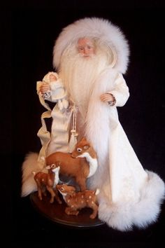"""""""CREAM/WHITE SANTA WITH DEER"""" a OOAK by Karen Vander Logt.  This Santa' was done for a client  using the client's Mother's heirloom coats and furs."""