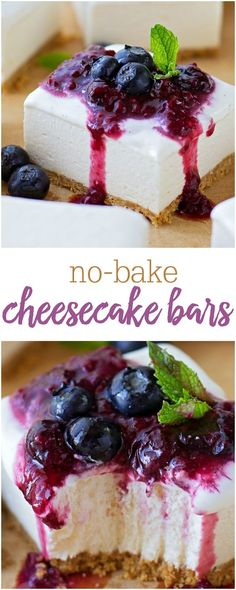 No-Bake Cheesecake Bars - these babies are just the right amount of sweet, have a nice buttery graham cracker crust, and are surprisingly firm like actual cheesecake. Top them however you like - fruit, chocolate sauce, or caramel and sea salt!! AMAZING!