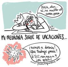 Neurona posvacacional #ilustracion #illustration #pedritaparker #humor