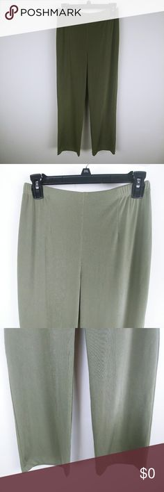 Chico's Women Palazzo Pants Easywear Elastic Waist Brand: Chico's Buyer: Women Item: Pants Material: Stretch Fit: Palazzo Details: Easy wear, elastic waist, lounge pants,  Size: 1- short (M/8) Color: Green Condition: Excellent pre-owned condition, no flaws   Measurements:  Waist Across Laying Flat: 13 inches Rise: 11.5 inches Inseam: 26 inches  Location: 473 Weight: FC 14 oz Chico's Pants