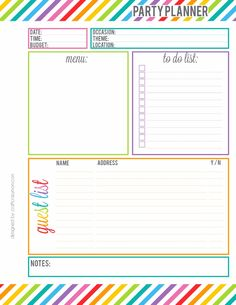 Rainbow Party Planner Printable