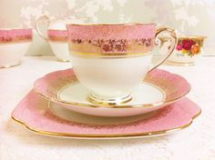 1930s Pink Banded Tea Trio, Roslyn China