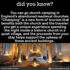 """jimtheviking: """" swedishwarriorwoman: """" fyeahgothicromance: """" annabellioncourt: """" did-you-kno: """"You can go church camping in England's abandoned medieval churches. """"Champing"""" is a new form of tourism that benefits both the church and the traveler: you. Cool Places To Visit, Places To Travel, Travel Destinations, Travel List, Travel Goals, Camping In England, All Nature, Wtf Fun Facts, I Want To Travel"""