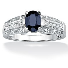 Blue sapphire and diamond ring10-karat white gold jewelryClick here for ring sizing guide