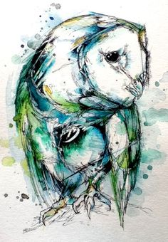 """Turquoise Tyto. Ink, watercolor, and Tombow markers. 9""""x12"""". For Emily and Scott in New England."""