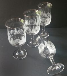 set of 4 winter themed water goblets; perfect addition to a Christmas/holiday table decor!