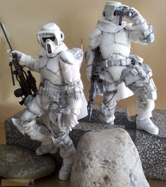 """(Science) Fiction, Fantasy, & Adventure """"Reach out & touch the rebel scums"""" ~ Imperial scout sniper platoon in cold weather gear - OSW: One Sixth Warrior Forum Star Wars Clone Wars, Star Wars Art, Star Trek, Gi Joe, Statues, Stormtrooper, Darth Vader, Images Star Wars, Star Wars Toys"""