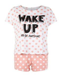 Shop Teens Coral Wake Up And Be Awesome Print Pyjama Set. Discover the latest trends at New Look. Cute Pajama Sets, Cute Pajamas, Comfy Pajamas, Pajamas For Teens, Girls Pajamas, Kids Nightwear, Sleepwear Women, Women's Sleepwear, Sleepover Outfit