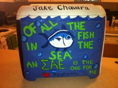 fish in the sea Fraternity Crafts, All Fish, Sigma Kappa, Coolers, Sorority, Greek, Arts And Crafts, Texas, Spirit