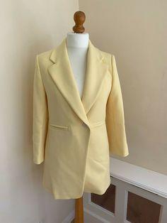 872df79f ZARA LEMON YELLOW Long Tailored Smart Jacket Size M UK 10/12 #fashion #