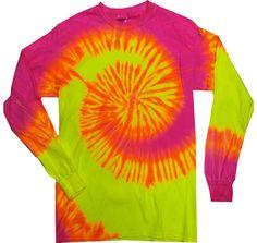 Tie Dye T Shirts Fluorescent Pink & Yellow Spiral Long Sleeve Youth to Adult 3XL #HanesGildan #BasicTee