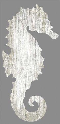 White Seahorse Silhouette - Left