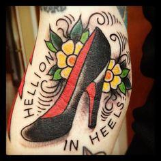 """""""Hellion In Heels"""" ~Cute tattoo by Scott Quinney"""