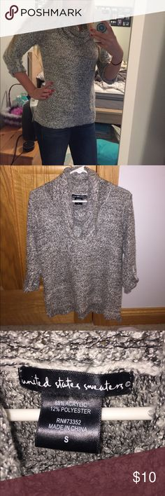 NWOT Grey Cowl Neck Sweater Great deal, never worn besides for picture. 3/4 sleeves!! Feel free to make offers united states sweaters Sweaters