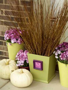 Monogrammed Planters        Paint a wood wastebasket a desired color. Fill a small frame with a clip-art letter, then hot-glue the frame to the wastebasket.