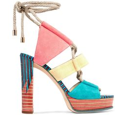 Jimmy Choo - Halley Color-block Suede Sandals ($478) ❤ liked on Polyvore featuring shoes, sandals, heels, coral, tie sandals, suede sandals, suede platform sandals, high heel shoes and jimmy choo sandals