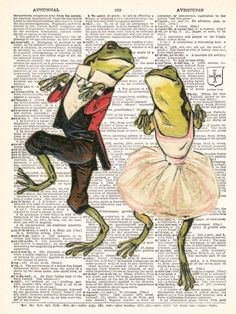 Dancing Valentines Love Frog Couple Vintage by TheRekindledPage