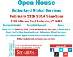 #openhouse Sutherland Global Services. TUE, Feb 11, 9AM-3PM. 1180 Jefferson Rd, Rochester NY. #rochester #NY