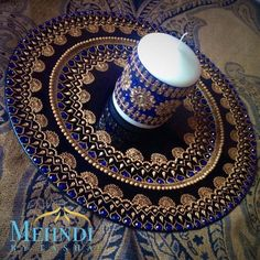 Blue and gold indian mehndi thaal charger plate by Mehandibytasha Diwali Decorations, Wedding Decorations, Mehndi Decor, Henna Mehndi, Mehendi, Henna Candles, Mehndi Party, Mehndi Night, Moroccan Theme