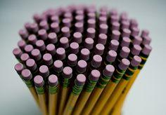 Pencils, pink dots