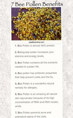 7 Benefits of Eating Bee Pollen #Pollen #Benefits #healthy