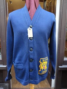 """Vintage 1960s blue white Letterman varsity college Ivy League button up cardigan sweater named chenille lion patch chain stitch 42"""" chest by TheDustbowlVintage on Etsy https://www.etsy.com/listing/220657237/vintage-1960s-blue-white-letterman"""