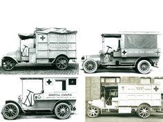 Les ambulances  Renault pour les armées alliées. Durant le conflit, la France, premier producteur industriel suivi de près par l'Angleterre, approvisionna en matériels et équipement toutes les armées alliées, anglais, roumains, américains, italiens et également à l'Espagne. Ambulance, World War One, First World, Emergency Equipment, Red Cross, Old Trucks, Recreational Vehicles, Wwii, Army