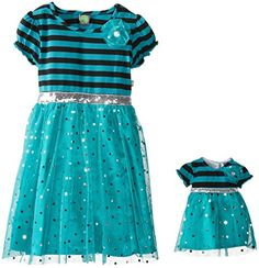Dollie & Me Little Girls' Sequin Inset Dress, Teal, 6