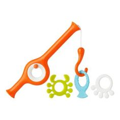 http://www.ruggabub.com.au/bath-time/boon-cast-fishing-pole-tangerine-multicolour/ Cast is another bath toy for toddlers. The weighted hook goes underwater to catch the three included toys.
